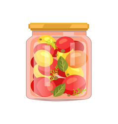 twist top glass with veggie and spicy seasoning vector image