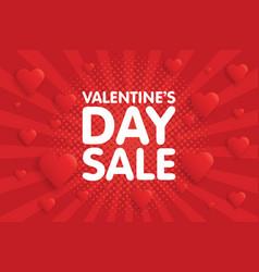 valentines day sale banner in vintage comics vector image