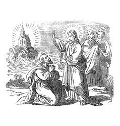 Vintage drawing biblical story peter vector