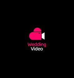 wedding or love heart with camera logo design vector image