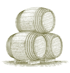 Woodcut Whiskey Barrel Stack vector image