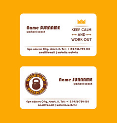 workout coach fitness exercise business card vector image