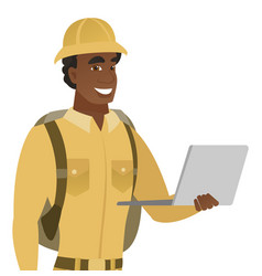 Young african-american traveler using laptop vector