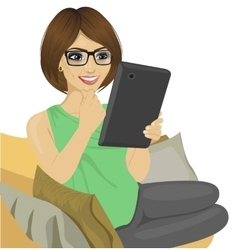 Young woman reading e-book on the sofa vector image
