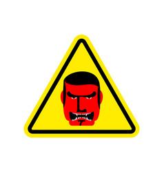 angry boss warning sign yellow evil head hazard vector image vector image