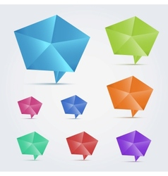 Set of 8 colorful origami speech bubles vector image vector image