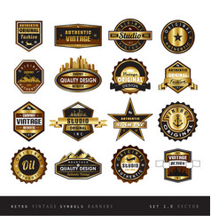 vintage retro golden labels black and white vector image vector image