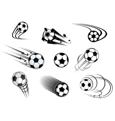 Fflying soccer balls set vector image vector image
