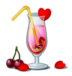 glass of cocktail with straw hearts and cherry vector image vector image