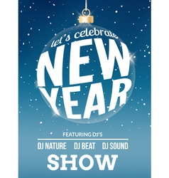 Happy New Year festive flyer design template vector image