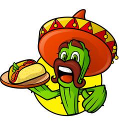 Mexican cactus with taco vector