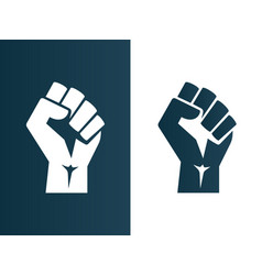 raised fist logo icon poster - isolated vector image vector image