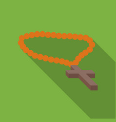 christian rosary icon in flat style isolated on vector image vector image