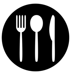 Fork spoon and knife button vector image