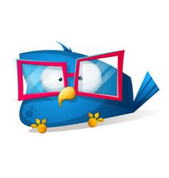 Funny bird in the sunglasses cartoon vector
