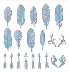 Hand drawn set with doodle antlers feathers vector image vector image