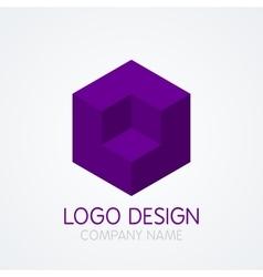 logo design cube vector image vector image
