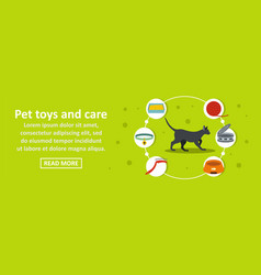 pet toys and care banner horizontal concept vector image