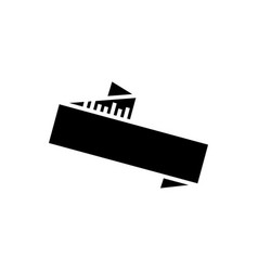 ribbon zig zag icon black vector image vector image