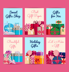 set of cards with piles of gift boxes with vector image vector image