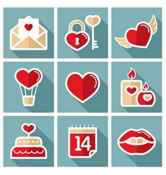 valentine day set icons vector image