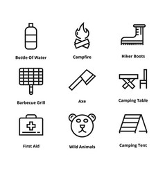 9 camping line icons vector image