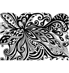 Abstract hand-drawn leafy doodle pattern in black vector