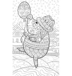 adult coloring bookpage a cute pig wearing a hat vector image