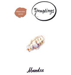 asian dumpling mandoo watercolor vector image