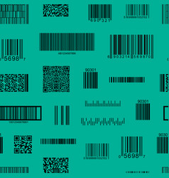 barcode and qr code seamless pattern background vector image