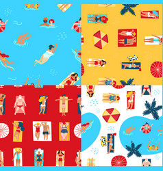 Beach and sea seamless pattern vector