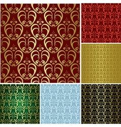 beautiful seamless patterns - set vector image
