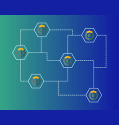 Blockchain komodo symbol networking background vector