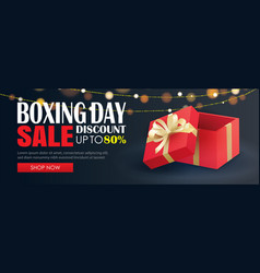 Boxing day sale with red gift box advertising vector