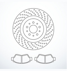 Brake disc and pads isolated vector