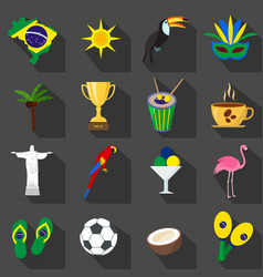 brazil set of cartoon flat icons on the black vector image