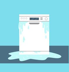 Broken dishwasher machine and water on floor vector