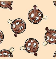Cacao hot chocolate with marshmallow cute cartoon vector