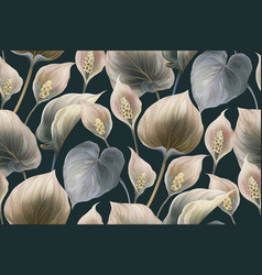 Calla flowers seamless pattern background vector