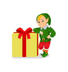cartoon cute christmas elf with gift box vector image
