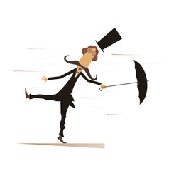 cartoon man umbrella and windy day isolated vector image