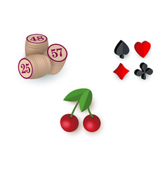 Casino symbols - suits bingo kegs jackpot cherry vector