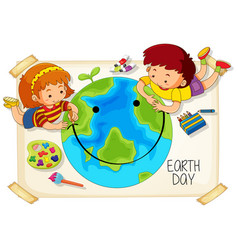 Children and earth day icon vector