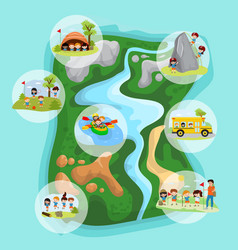 Children summer camp concept with camping kids in vector