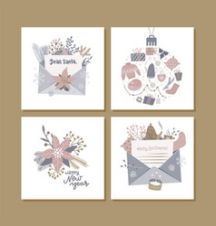christmas square greeting cards with cute hygge vector image
