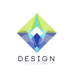 Colorful geometric logo template abstract diamond vector