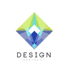 colorful geometric logo template abstract diamond vector image