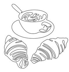 continuous line drawing cup coffee or vector image