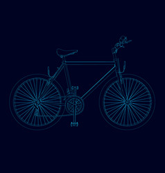 contour detailed bike of blue lines on a dark vector image