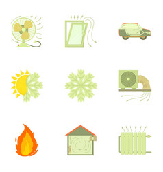 Cooling system icons set cartoon style vector